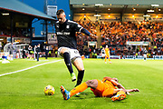 Dundee forward Marcus Haber (#29) skips over the challenge of Dundee United defender William Edjenguele (#14) during the Betfred Scottish Cup match between Dundee and Dundee United at Dens Park, Dundee, Scotland on 9 August 2017. Photo by Craig Doyle.