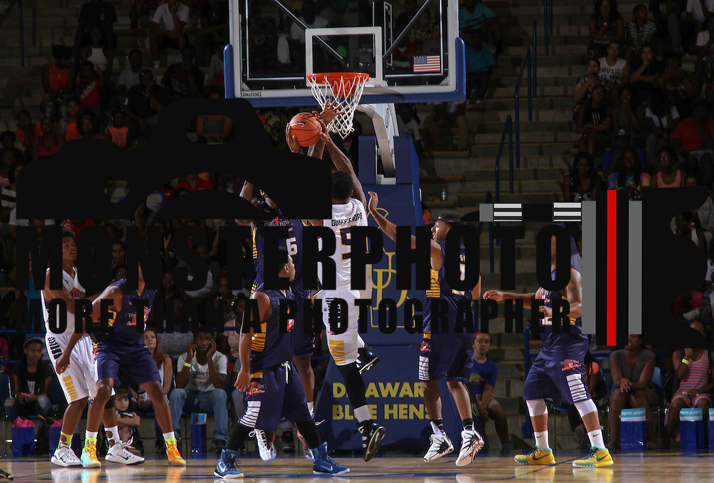 Former University of Delaware basketball player Marc Egerson (5) attempts a shot in the lane in first half of The 2015 Duffy's Hope Celebrity Basketball Game Saturday, August 01, 2015, at The Bob Carpenter Sports Convocation Center, in Newark, DEL.    <br /> <br /> Proceeds will benefit The Non-Profit Organization Duffy's Hope Youth Programming.