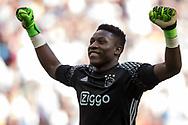 AMSTERDAM, Ajax - Feyenoord, voetbal, Eredivisie, seizoen 2016-2017, 02-04-2017, Stadion De Arena, vreugde bij Ajax keeper Andre Onana.