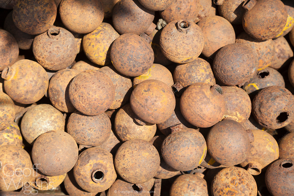 Up to 80 million cluster bombs dropped on Laos failed to detonate, remaining live in the ground. BLU 24/B cluster bombs collected and defused by explosive ordnance engineers. Xiangkhouang, Province