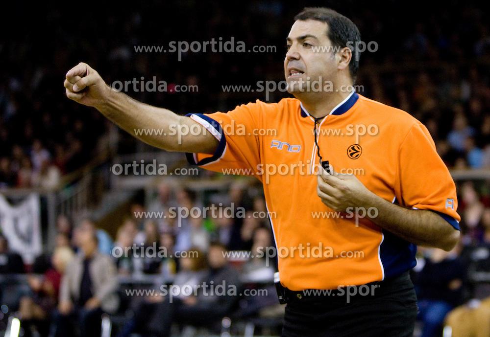 Referee Dani Hierrezuelo of Spain  at Euroleague basketball match in 6th Round of Group C between KK Union Olimpija and Maccabi Tel Aviv, on December 3, 2009, in Arena Tivoli, Ljubljana, Slovenia. Maccabi defeated Union Olimpija 82-65. (Photo by Vid Ponikvar / Sportida)