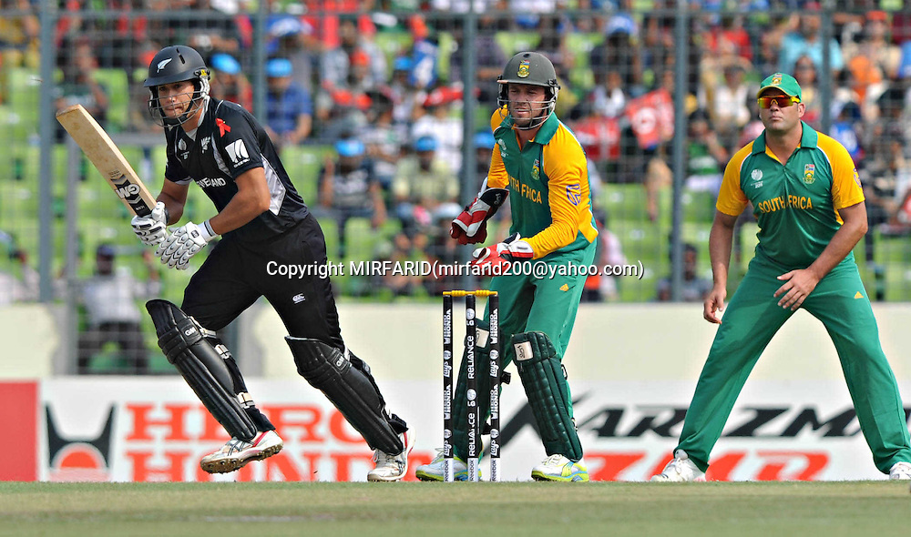 Ross Taylor of New Zealand during the ICC Cricket World Cup quarter final match between South Africa and New Zealand held at the Shere Bangla National Stadium, Mirpur, Bangladesh on the 25 March 2011<br /> <br /> Photo by SPORTZPICS