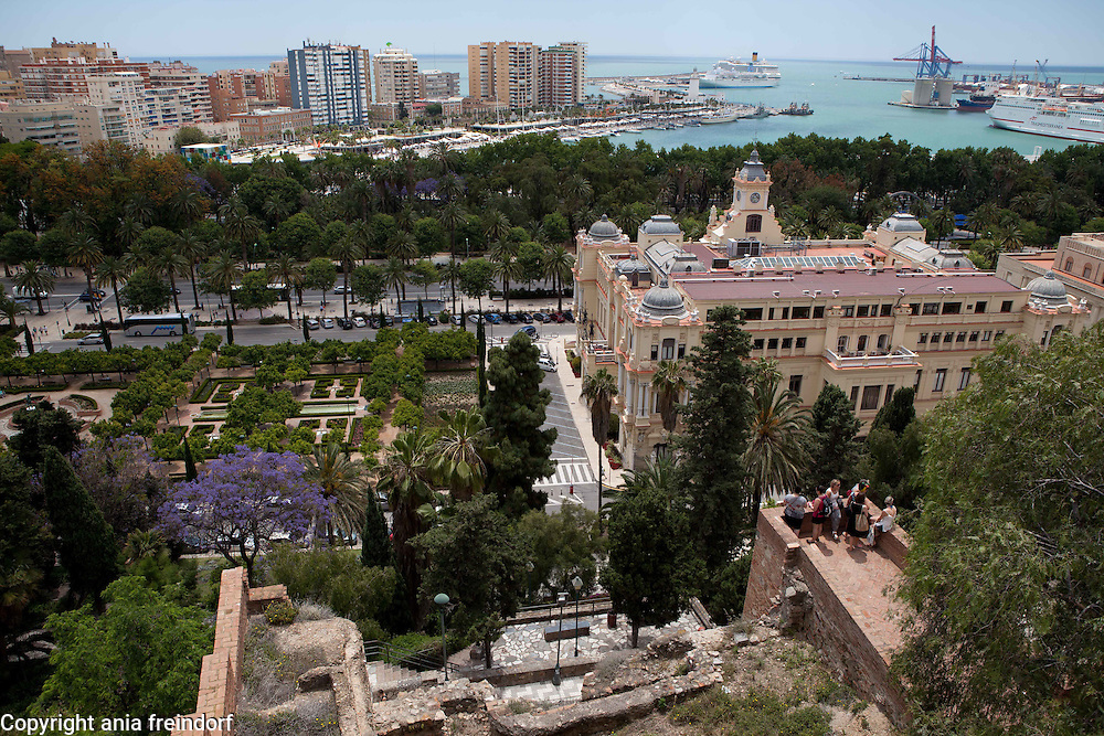 May in Malaga, Spain, Tourism, Alcazaba - a Moorish fortress built in the 8th century. Ferdinand and Isabella lived here after conquering Malaga in 1487,  with Islamic influenced architecture, southern Spain