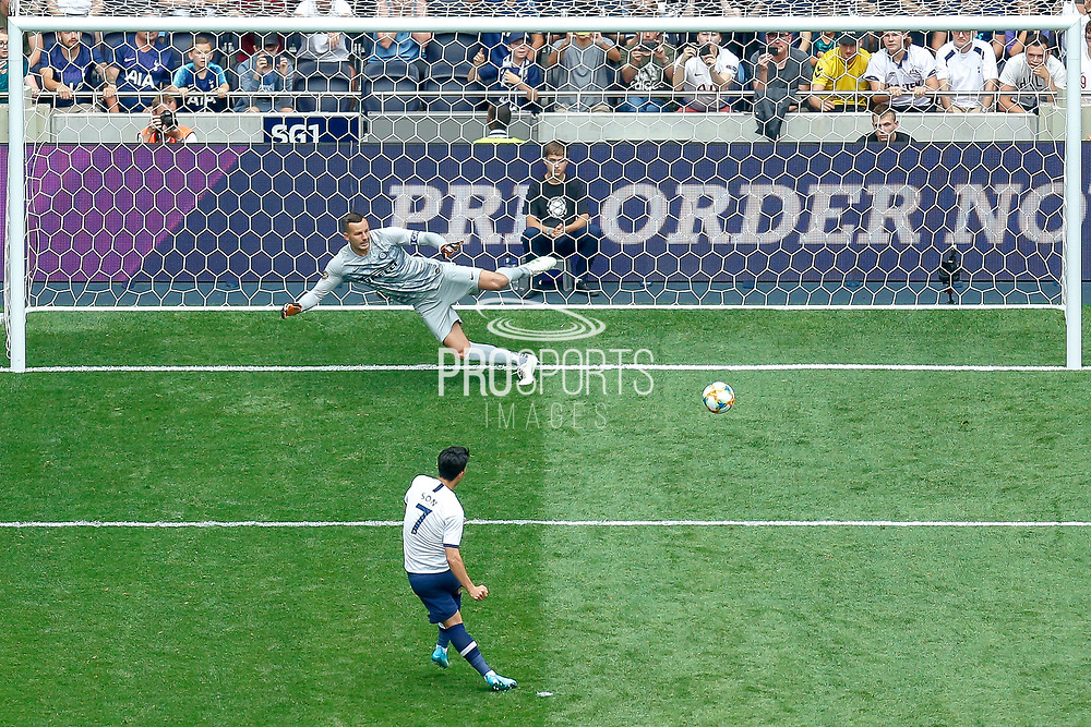 Tottenham Hotspur forward Son Heung-Min (7) scores his penalty, penalty shootout, during the Pre-Season Friendly match between Tottenham Hotspur and Inter Milan at Tottenham Hotspur Stadium, London, United Kingdom on 4 August 2019.