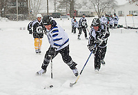 Pond Hockey Classic on Meredith Bay Friday, January 30, 2015.  Karen Bobotas for the Laconia Daily Sun