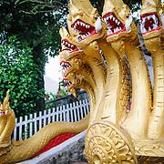 Gold-leaf naga depicting king cobras or sea serpents protect the entrance to Wat Phonxay Sanasongkham in Luang Prabang, Laos. Naga are a common architectural ornament at Lao Buddhist temples.