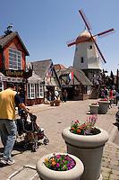 Family Walking Toward Solvang Danish Windmill Tourism Street Scene, San Luis Obispo County, California