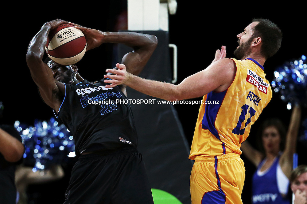 Ekene Ibekwe of the Breakers competes for a rebound against Anthony Petrie of the 36ers. 2014/15 ANBL, SkyCity Breakers vs Adelaide 36ers, Vector Arena, Auckland, New Zealand. Thursday 12 February 2015. Photo: Anthony Au-Yeung / www.photosport.co.nz