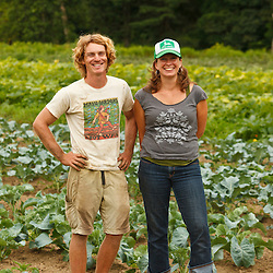 Jen Smith and her husband, Nate Frigard, on their new vegetable farm, Crimson and Clover, in Northampton, Massachusetts.