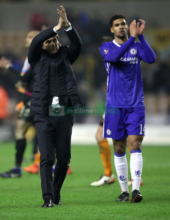 Chelsea manager Antonio Conte (left) thanks the fans after the final whistle alongside Ruben Loftus-Cheek during the Emirates FA Cup, Fifth Round match at Molineux, Wolverhampton.