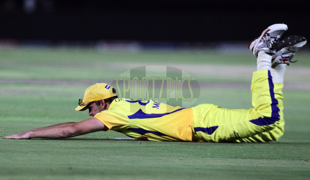 Chennai Super King player Albie Morkel dives as he fields during match 52 of the the Indian Premier League ( IPL ) Season 4 between the Rajasthan Royals and the Chennai Super Kings held at the Sawai Mansingh Stadium, Jaipur, Rajasthan, India on the 9th May 2011..Photo by BCCI/SPORTZPICS.