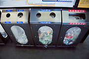 separate trash disposal at a train station in Japan, can bottle, pet bottle, other garbage