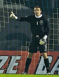 San Marino, San Marino - Wednesday, October 17, 2007: Wales' goalkeeper Lewis Price in action against San Marino during the Group D UEFA Euro 2008 Qualifying match at the Serravalle Stadium. (Photo by David Rawcliffe/Propaganda)