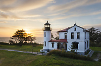 Sunset at Admiralty Head Lighthouse, Fort Casey State Park on Whidbey Island, Washington.