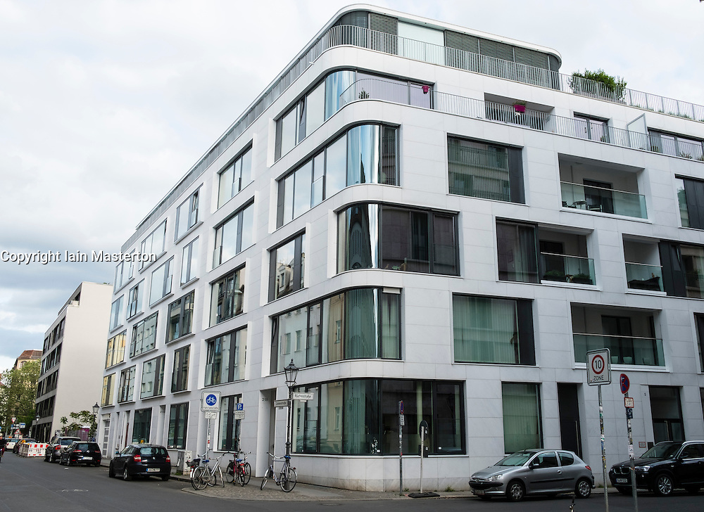 Exterior of modern luxury apartment building in Mitte Berlin