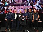 (L to R) Warriors coach Stephen Kearney, Warriors CEO Cameron George, Vodafone NZ CEO Russell Stanners, Roger Tuivasa-Sheck, Awen Guttenbeil and Monty Betham.<br /> Vodafone New Zealand announce the renewing of sponsorship for the Vodafone Warriors at InnoV8 Auckland Vodafone HQ, North Shore, Auckland. Thursday 24 May 2018. © Copyright Image: Andrew Cornaga / www.photosport.nz