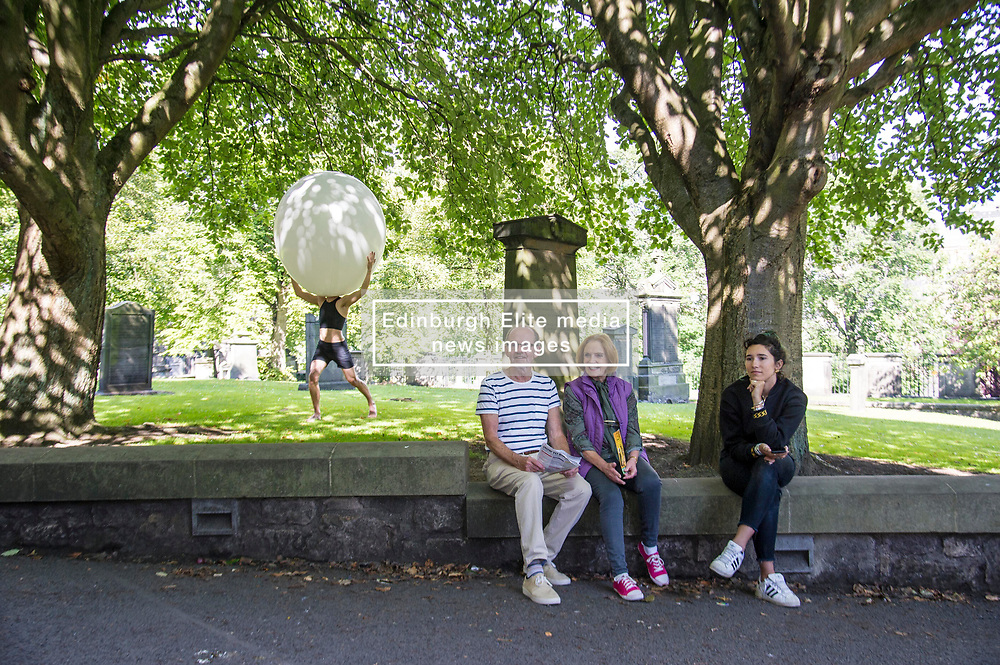 Pictured: <br /> <br /> The cast of Staging Wittgenstein. Annie Hagg (blonde) , Roxanna Kadyrova (dark hair) and Nikita Lebedev were enjoying the sunshine as they prepared for their run in the Edinburgh Festival at Venue 34, Adams House, Chambers Street in Edinburgh.  The US/Russian production will be in Edinburgh until 28 August. <br /> <br /> Ger Harley | EEm 9 August 2017