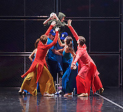 Her Name was Carmen <br /> The St. Petersburg Ballet Theatre at London Coliseum, London, Great Britain <br /> 23rd August 2016 <br /> rehearsal <br /> <br /> Irina Kolesnikova as Carmen - holding the football <br /> choreography by Olga Kostel <br /> <br /> <br /> <br /> <br /> Photograph by Elliott Franks <br /> Image licensed to Elliott Franks Photography Services