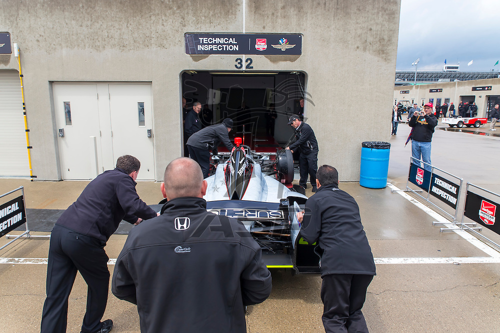 indianapolis, IN - May 16, 2014:  The Suretone Honda gets pushed through inspection before a practice session for the Indianapolis 500 at Indianapolis Motor Speedway in indianapolis, IN.