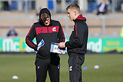 Scunthorpe United Cameron McGeehan (26)left and  Scunthorpe United Ryan Yates (24)right checking out the pitch before the EFL Sky Bet League 1 match between Bristol Rovers and Scunthorpe United at the Memorial Stadium, Bristol, England on 24 February 2018. Picture by Gary Learmonth.