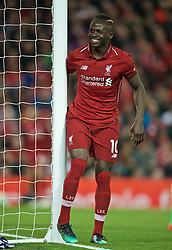 LIVERPOOL, ENGLAND - Friday, April 26, 2019: Liverpool's Sadio Mane smiles during the FA Premier League match between Liverpool FC and Huddersfield Town AFC at Anfield. (Pic by David Rawcliffe/Propaganda)