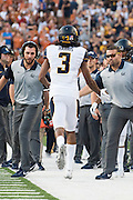 AUSTIN, TX - SEPTEMBER 19:  Maurice Harris #3 of the California Golden Bears celebrates after a touchdown against the Texas Longhorns on September 19, 2015 at Darrell K Royal-Texas Memorial Stadium in Austin, Texas.  (Photo by Cooper Neill/Getty Images) *** Local Caption *** Maurice Harris