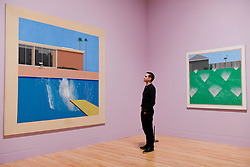 "© Licensed to London News Pictures. 06/02/2017. London, UK. A staff member views (L) ""A Bigger Splash"" and (R) ""A Lawn Being Sprinkled"" at the preview of the world's most extensive retrospective of the work of David Hockney at the Tate Britain, which will be on display 9 February to 29 May 2017. Photo credit : Stephen Chung/LNP"