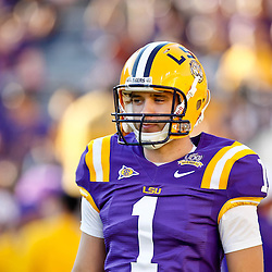 October 16, 2010; Baton Rouge, LA, USA; LSU Tigers quarterback Barrett Bailey (1) during warm ups prior to kickoff against the McNeese State Cowboys at Tiger Stadium. LSU defeated McNeese State 32-10. Mandatory Credit: Derick E. Hingle