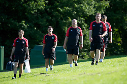 CARDIFF, WALES - Monday, August 30, 2010: Wales' technical staff L-R physiotherapist Dyfri Owen, masseur David Rowe, Medical Officer Doctor Mark Ridgewell at the Vale of Glamorgan ahead of the UEFA Euro 2012 Qualifying Group 4 match against Montenegro. (Pic by David Rawcliffe/Propaganda)