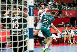 Nemanja Zelenovic of Serbia vs Vadim Gayduchenko of Belarus during handball match between National teams of Serbia and Belarus on Day 7 in Main Round of Men's EHF EURO 2018, on January 24, 2018 in Arena Zagreb, Zagreb, Croatia.  Photo by Vid Ponikvar / Sportida