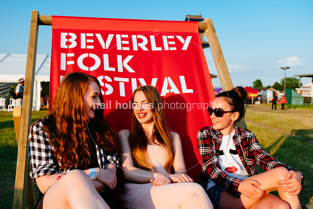 Beverley Racecourse, Beverley, East Yorkshire, United Kingdom, 18 June, 2017. Pictured: Festival Deck Chair, Beverley Folk Festival