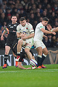 Twickenham, United Kingdom, Saturday, 10th  November 2018, RFU, Rugby, Stadium, England,  the high ball slips through,  Mark WILSON's hands , during the , Quilter, Autumn International, England vs New Zealand © Peter Spurrier