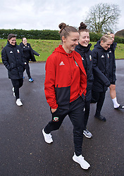 CARDIFF, WALES - Thursday, April 4, 2019: Wales' Loren Dykes and Angharad James during a pre-match team walk at the Vale Resort ahead of an International Friendly match between Wales and Czech Republic at Rodney Parade. (Pic by David Rawcliffe/Propaganda)