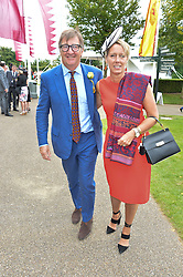JOHN AYTON and ANNOUSHKA DUCAS at day 3 of the Qatar Glorious Goodwood Festival at Goodwood Racecourse, Chechester, West Sussex on 28th July 2016.