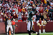 LANDOVER, MD - NOVEMBER 11: Wide Receiver Reggie Brown of the Philadelphia Eagles celebrates after scoring a touchdown during the game against the Washington Redskins on November 11, 2007 at FedEx Field in Landover, Maryland. The Eagles won 33-25.