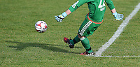 Fussball  Symbolbild   22.05.2015 Adidas Torfabrik DFL Ball mit Beinen beim Abstoss