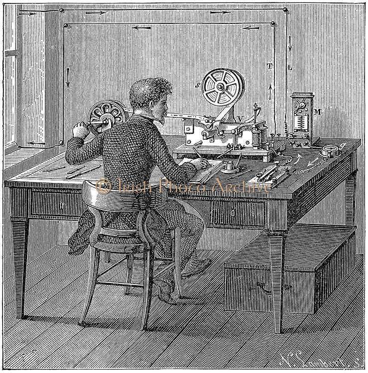 Operator receiving a message in Morse code on  printing telegraph.  In box under table are the wet cells (batteries) supplying electricity. Wood engraving 1887