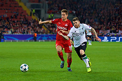 MOSCOW, RUSSIA - Tuesday, September 26, 2017: Liverpool's Alberto Moreno and FC Spartak Moscow's Mario Pašalić during the UEFA Champions League Group E match between Spartak Moscow and Liverpool at the Otkrytie Arena. (Pic by David Rawcliffe/Propaganda)