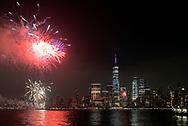 4th of July celebration on Hudson River. View from NJ to Manhattan.