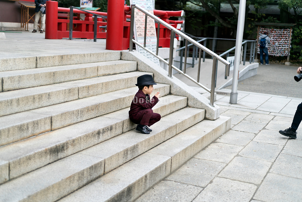 little boy posing during his celebration of Shichi Go San Japan
