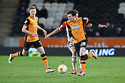 Hull City defender Andrew Robertson (26)  during the Sky Bet Championship match between Hull City and Brentford at the KC Stadium, Kingston upon Hull, England on 26 April 2016. Photo by Ian Lyall.