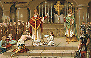 Baptism of Witikind, 786. Wittekind or Witikind (d807) Saxon warrior and commander surrendered to Charlemagne at Paderborn in 785. Reinstated on condition he converted to Christianity. Nineteenth century Trade Card Chromolithograph