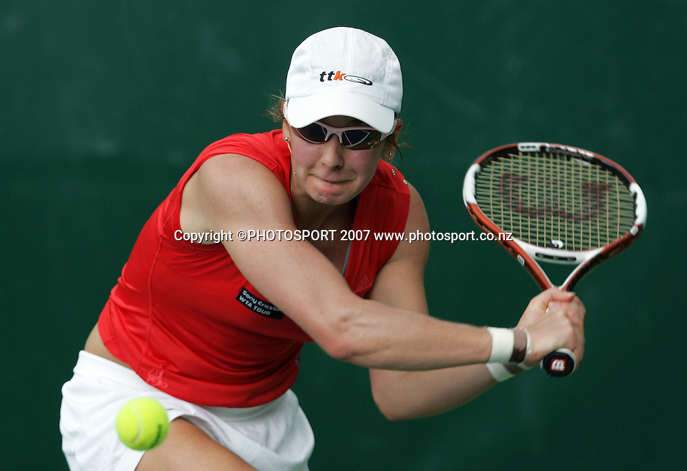 Ukraine's Mariya Koryttseva in action. ASB Classic Women's Singles Day 1. ASB Tennis Centre, Auckland, New Zealand. Monday 31 December 2007. Photo: Hagen Hopkins/PHOTOSPORT