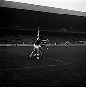 13/11/1966<br /> 11/13/1966<br /> 13 November 1966<br /> Under 21 Hurling Final: Cork v Wexford at Croke Park, Dublin.<br /> Cork full-forward, A. Flynn, stretches out his right arm to catch the ball near the Wexford goal. Flynn misses the catch.