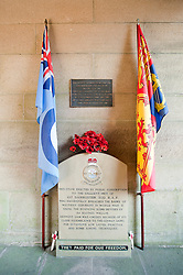 At the entrance to the west tower on the dam wall is this small memorial to the men of 617 Squadron in the West tower is small Museum. Known locally as the Dam Busters Museum it opens Sundays and Bank Holiday..25 November 2011 .Image © Paul David Drabble