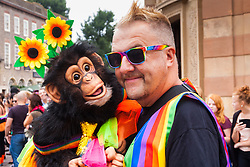 Brighton, August 2nd 2014. Brighton Pride gives revellers a chance for a little monkey business.