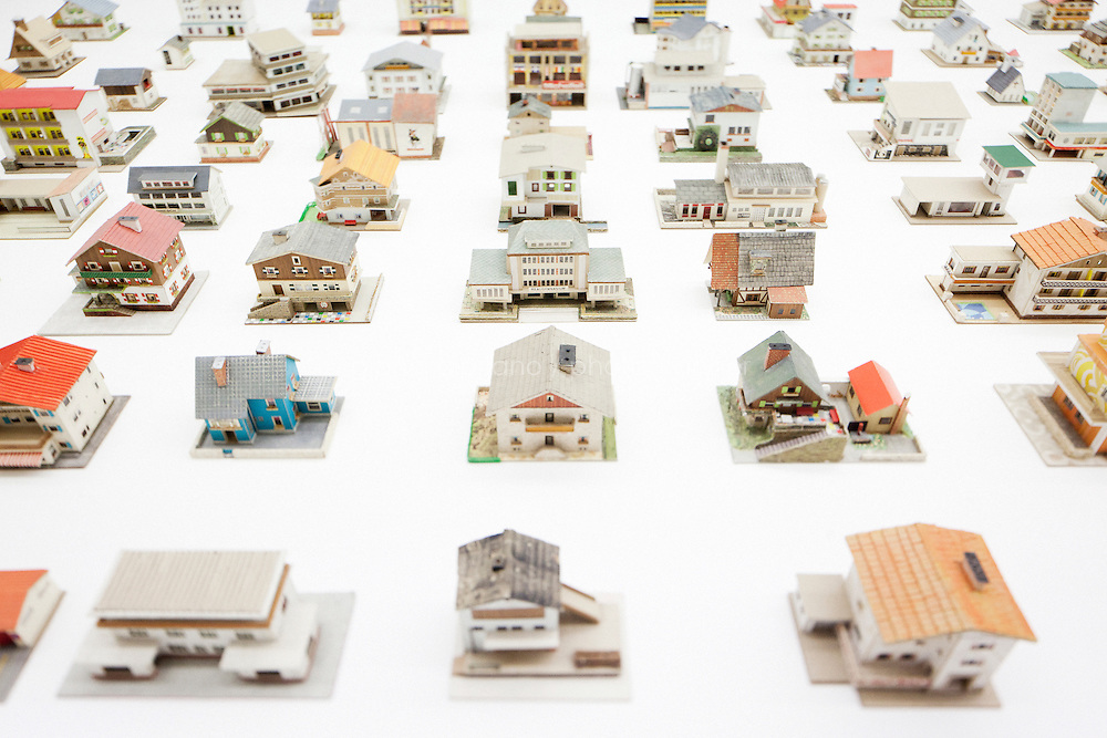 VENICE, ITALY - 31 MAY 2013: Oliver Croy and Oliver Elser's &quot;The 387 houses of Peter Fritz&quot; (1916-1992) - a selection of 176 models - at the exhibition &quot;Il Palazzo Enciclopedico&quot; (The Encyclopedic Palace) at the Central Pavillon at the Giardini of the Biennale in Venice, Italy, on May 31st 2013. <br /> <br /> The Exhibition Il Palazzo Enciclopedico (The Encyclopedic Palace) will be laid out in the Central Pavilion (Giardini) and in the Arsenale forming a single itinerary, with works spanning over the past century alongside several new commissions, including over 150 artists from 38 countries. Il Palazzo Enciclopedico (The Encyclopedic Palace) investigates the desire to see and know everything: it is a show about obsessions and about the transformative power of the imagination. The exhibition opens in the Central Pavilion with a presentation of Carl Gustav Jung's Red Book.<br /> <br /> The 55th International Art Exhibition of the Venice Biennale takes place in Venice from June 1st to November 24th, 2013 at the Giardini and at the Arsenale as well as in various venues the city. <br /> <br /> Gianni Cipriano for The New York TImes