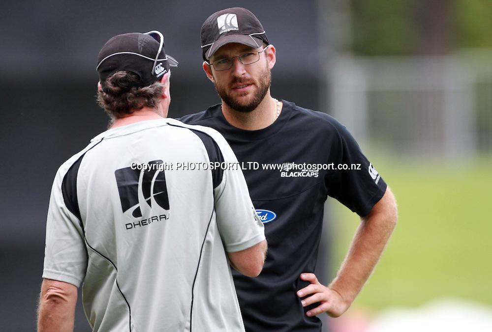 John Wright and captain Daniel Vettori at a training session at McLean Park, Napier, Monday 31 January 2011. Photo: Andrew Cornaga/photosport.co.nz