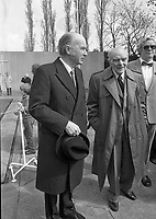 President Patrick Hillery with Nobel Peace Prize Laureate Sean McBride at the 1916 Commemoration Ceremony at Arbour Hill, 07/05/1986 (Part of the Independent Newspapers Ireland/NLI Collection).