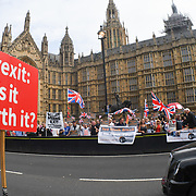 Pro-Brexit count anti-Brexit at Westminster, London, UK
